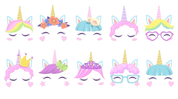 Pretty pony unicorns faces flat set