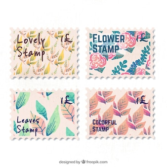 Pretty post stamps with leaves and flowers