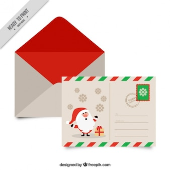 Pretty postcard of santa claus with envelope