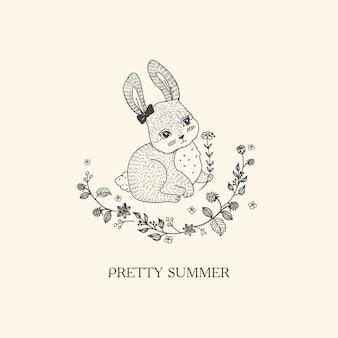Pretty rabbit hand drawn style