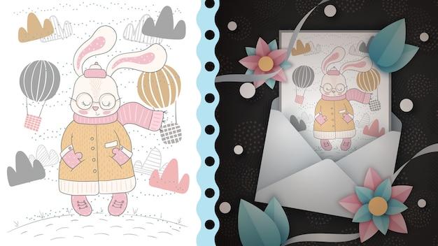 Симпатичный кролик - идея для поздравительной открытки