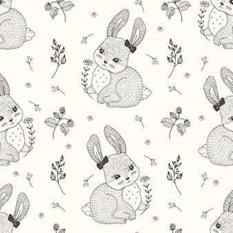 Pretty rabbit seamless pattern