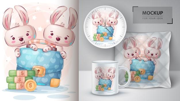 かわいいウサギのポスターとマーチャンダイジング