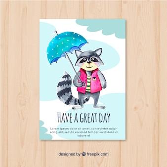 Pretty raccoon watercolor card with umbrella
