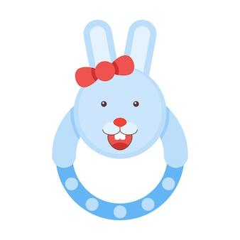 かなりガラガラバニー。子供のウサギのおもちゃのベクトル図です。