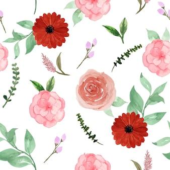 예쁜 빨간 분홍색 소박한 꽃 원활한 패턴