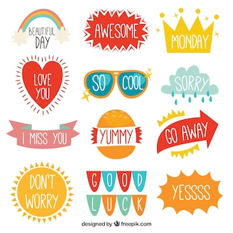 Pretty retro stickers with messages