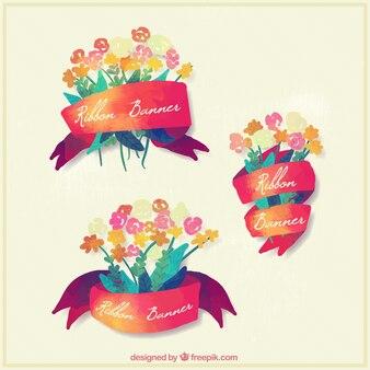 수채화 꽃의 예쁜 리본