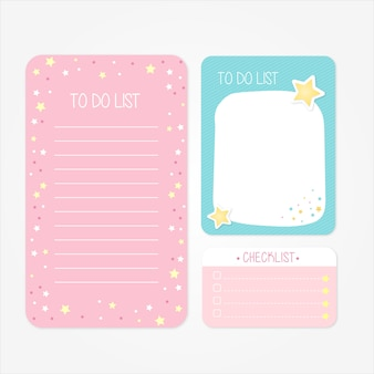 Pretty school designs for to do lists and checklists in pink and blue tones
