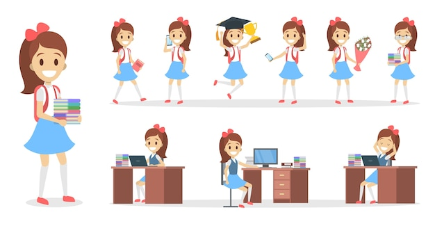 Pretty school kid female character set for animation with various views, hairstyles, emotions, poses and gestures. school equipment set. isolated vector illustration