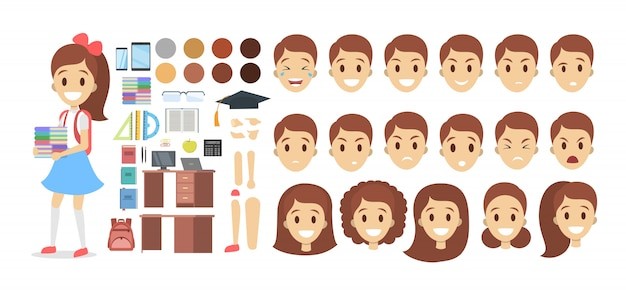 Pretty school kid female character set for animation with various views, hairstyles, emotions, poses and gestures.