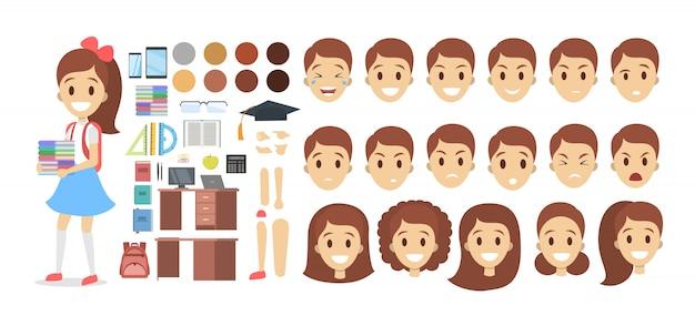さまざまなビュー、ヘアスタイル、感情、ポーズ、ジェスチャーを備えたアニメーション用のかわいい学校の子供女性キャラクターセット。
