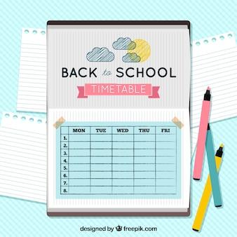 손으로 그린 태양과 구름과 예쁜 학교 시간표