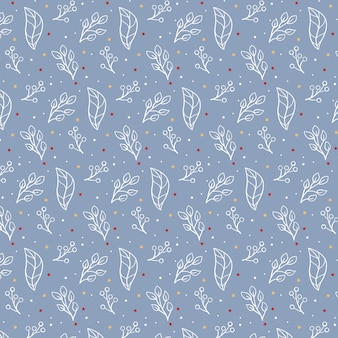 Pretty seamless pattern of christmas leaves