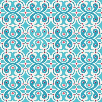 Довольно простой бесшовные абстрактный узор с сердечками и точками
