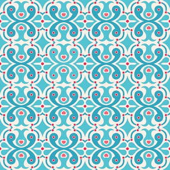Pretty simple seamless abstract pattern with hearts and dots