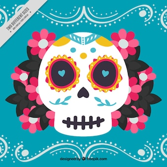 Pretty skull background with daisies