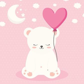Довольно сонный полярный медведь с облаками и луной на розовом