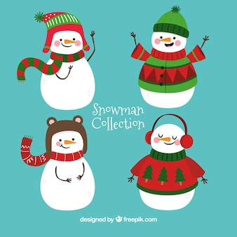 Pretty snowmen with winter accessories