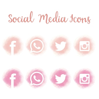 Pretty social media icons in watercolor