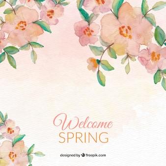 水彩花とプリティ春の背景