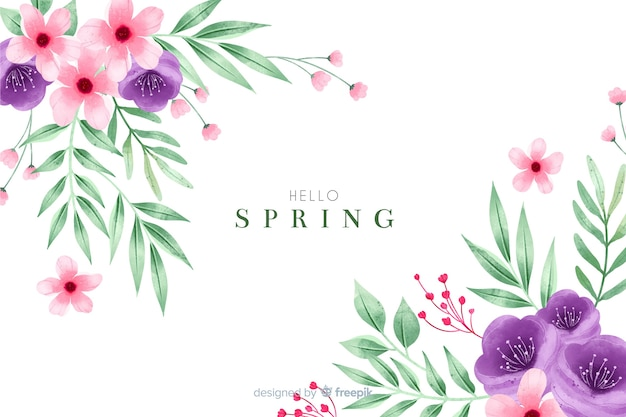Pretty spring background with watercolor flowers