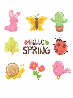 Довольно весенний элемент мультипликационный персонаж и иллюстрация карты. концепция «привет весна».