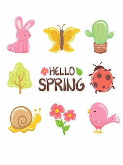 Pretty spring element cartoon character and illustration card.