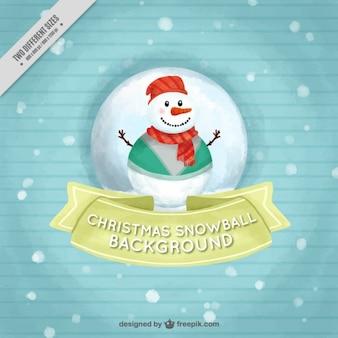 Довольно полосатый фон с красивым акварельной снеговика