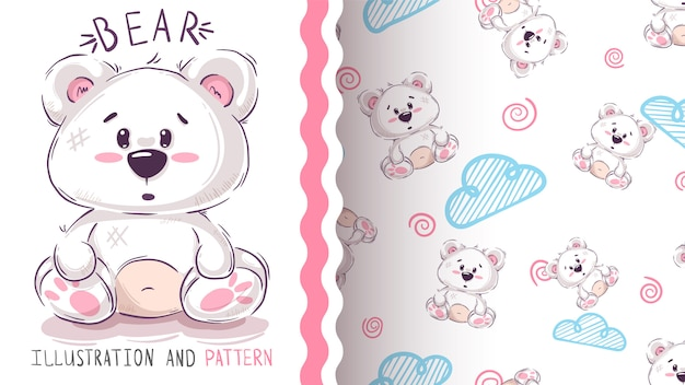 Pretty teddy bear - seamless pattern