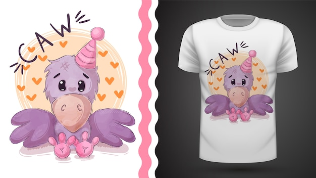 Pretty teddy crow for print t-shirt