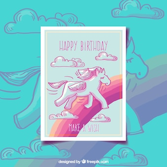 예쁜 유니콘과 무지개 생일 카드