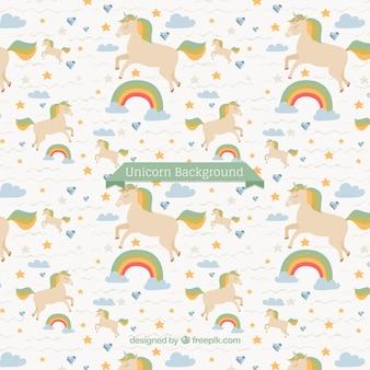 Primo sfondo unicorno con arcobaleno