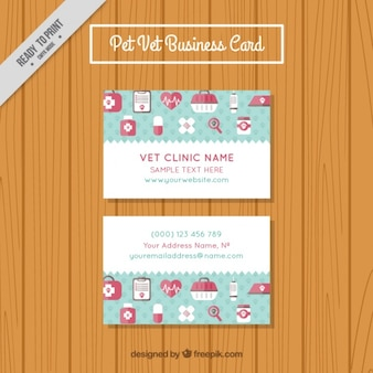Pretty veterinary card template in flat design