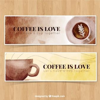 Pretty vintage banners watercolor coffee mug