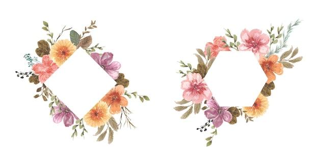かなりヴィンテージの花のフレームの水彩画 Premiumベクター