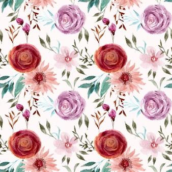 예쁜 빈티지 꽃 수채화 원활한 패턴