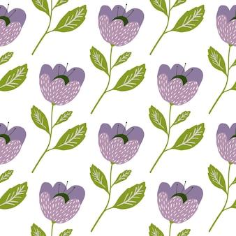 예쁜 빈티지 꽃 원활한 패턴 흰색 배경에 고립입니다. 식물학 질감입니다. 꽃 벽지. 패브릭, 섬유 인쇄, 포장, 커버를 위한 로맨틱한 우아한 디자인. 벡터 일러스트 레이 션.