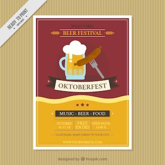 Pretty vintage oktoberfest festival brochure Free Vector