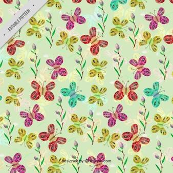 나비와 수채화 꽃의 예쁜 빈티지 패턴
