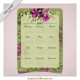 Pretty vintage watercolor flowers 2017 calendar