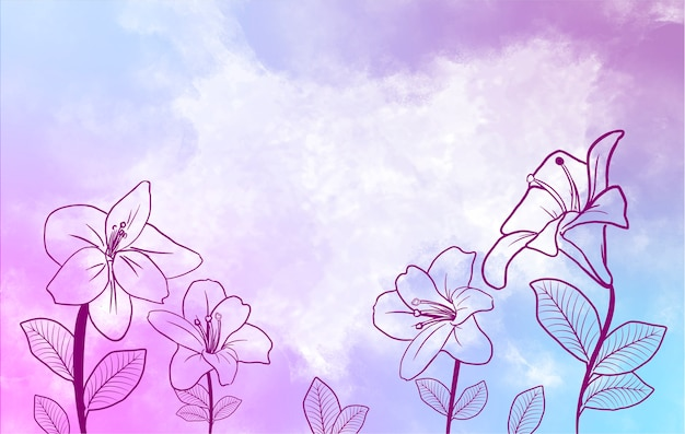 Pretty violet watercolor background and flowers Premium Vector
