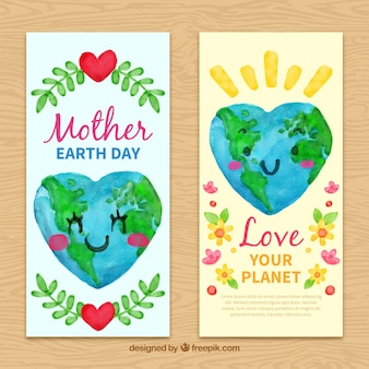 Pretty watercolor banners for mother earth day