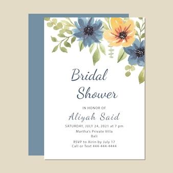 きれいな水彩ブライダルシャワーの招待カードテンプレートプレミアムベクトル