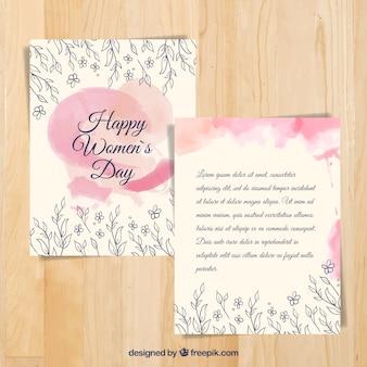 Carta acquarello graziosa con schizzi floreali della giornata della donna