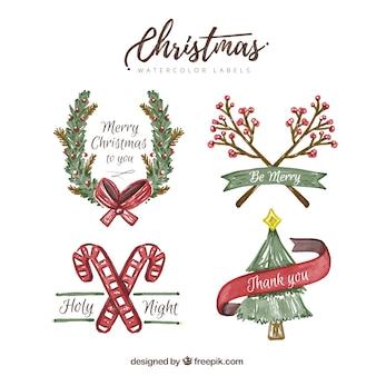 Довольно акварель рождественские наклейки с сообщениями