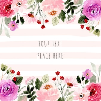 Pretty watercolor floral frame background