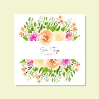 Pretty watercolor floral frame