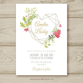 Pretty watercolor floral wedding invitation