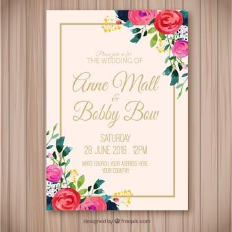 Pretty watercolor floral wedding invitation